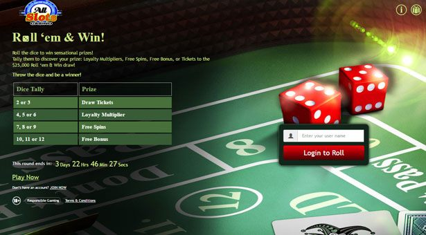 Roll and Win Promo at All Slots Casino