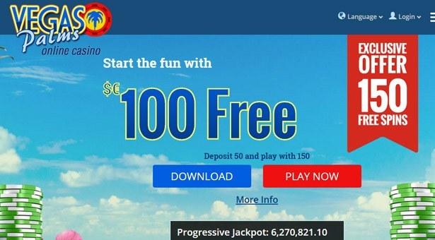 150 Free Spins at Vegas Palms Casino